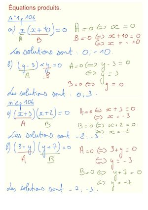 Correction Equations Produits Nul