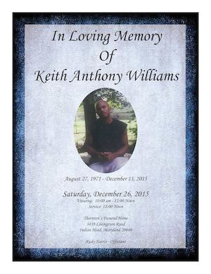 Keith Williams Funeral Program