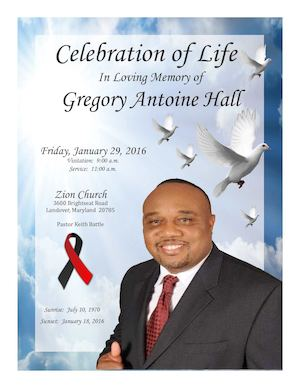 Greg Hall Funeral Program