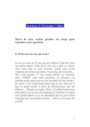 Questionnaire Christophe Collins