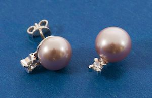 Single Stone And Rose Pearl Earrings Available At Filigrenasia While Stocks Last 74522