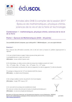Dnb 2017 Sujet Zero Maths Sciences1 M Pc Svt