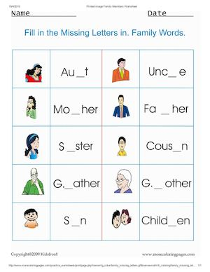 Calam o Print Image Family Members Worksheet