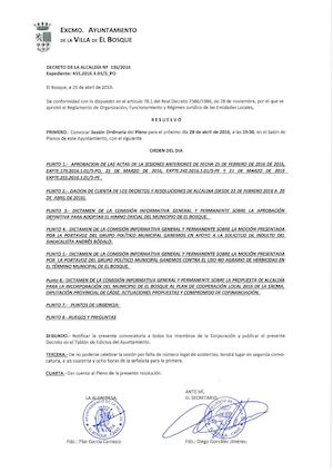 Convocatoria Pleno 28 abril 2016