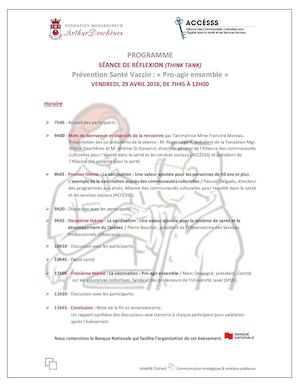Programme Think Tank Vaccination 29avril16