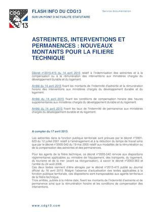 Astreintes Et Permanences Filiere Technique 2015
