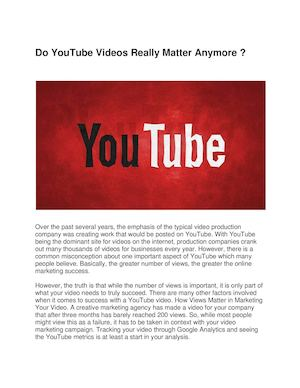 Do You Tube Videos Really Matter Anymore Docx