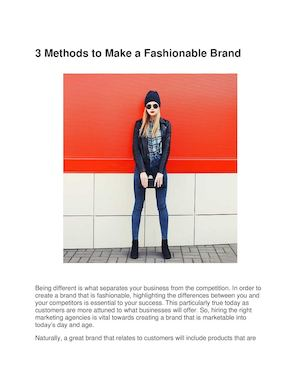 3 Methods To Make A Fashionable Brand