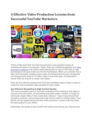 4 Effective Video Production Lessons From Successful You Tube Marketers