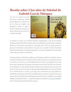 calaméo reseña sobre cien años de soledad de gabriel garcía márquez