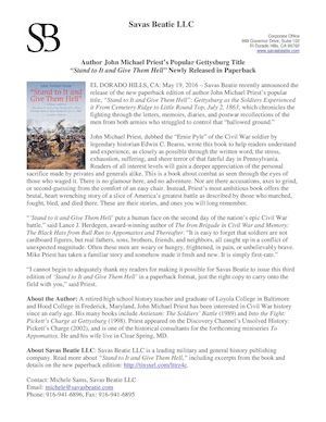 "Author John Michael Priest's Popular Gettysburg Title ""Stand to It and Give Them Hell"" Newly Released in Paperback"