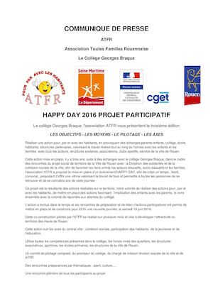 Communique De Presse happy day 2016