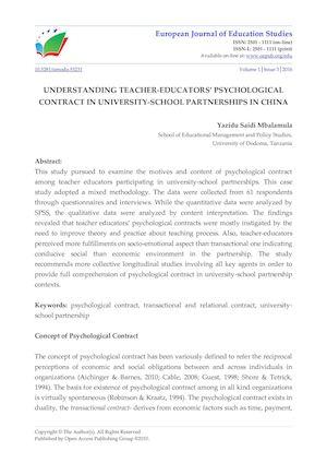 Calaméo Understanding Teacher Educators Psychological Contract In