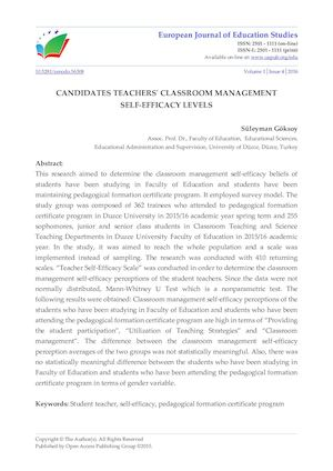 CANDIDATES TEACHERS' CLASSROOM MANAGEMENT  SELF-EFFICACY LEVELS