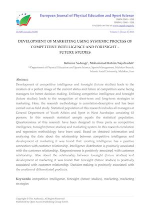 DEVELOPMENT OF MARKETING USING SYSTEMIC PROCESS OF COMPETITIVE INTELLIGENCE AND FORESIGHT –  FUTURE STUDIES