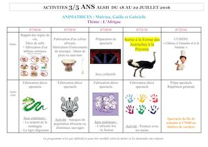 Planning Animation Du 18 Au 22 Juillet
