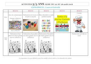 Planning Animation Du 22 Au 26 Aout