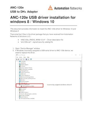 Anc 120e How To Install Anc120e Usb Driver Under Windows 8