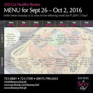 Order Your 350 Cal Healthy Bentos For Next Week From The Sexy Chef Until September 25 2016 86137