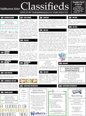 Classifieds September 27, 2016