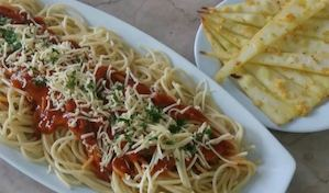 Have A Spaghetti Platter With 8pcs Of Bread Sticks For Only P299 At Angels Pizza 86405