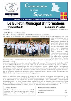 Bulletin municipal d'informations Septembre Octobre 2016