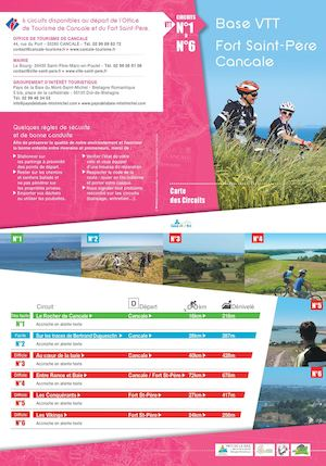 Carte des 6 circuits de la base VTT