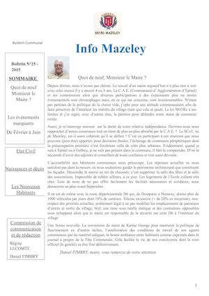 Info Mazeley Juin 2015