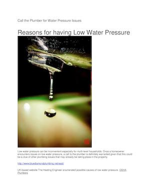 Call The Plumber For Water Pressure Issues