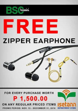 Get Free Zipper Earphones With Minimum Purchase Of P1500 At Isetann Until December 31 2016 86507