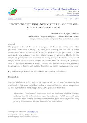 PERCEPTIONS OF STUDENTS WITH MULTIPLE DISABILITIES AND  TYPICALLY DEVELOPING PEERS