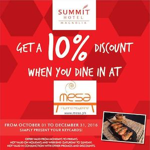 Enjoy 10 Off When You Dine In At Mesa Summit Hotel Valid Until December 31 2016 86523