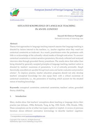 SITUATED KNOWLEDGE OF LANGUAGE TEACHING  IN AN EFL CONTEXT