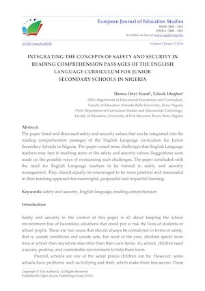 Calamo integrating the concepts of safety and security in reading calamo integrating the concepts of safety and security in reading comprehension passages of the english language curriculum for junior secondary schools ibookread ePUb