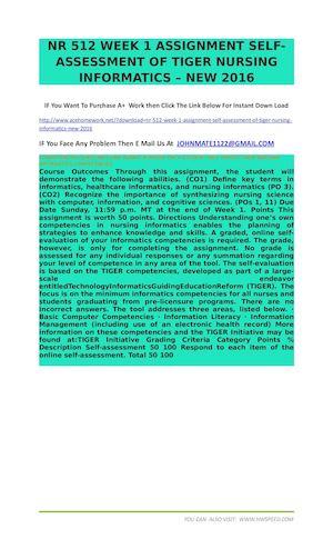 Calaméo - NR 512 WEEK 1 ASSIGNMENT SELF ASSESSMENT OF TIGER NURSING