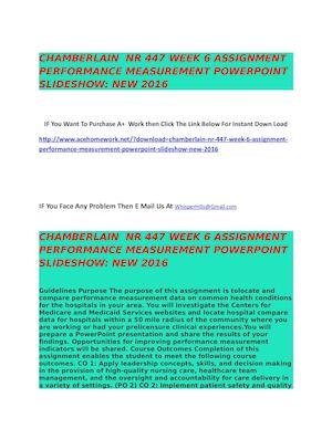 Calaméo - DEVRY NR 447 WEEK 6 Assignment Performance