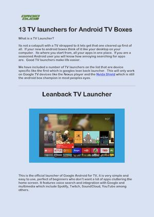 Calaméo Top 13 Tv Launchers For Android Tv Boxes