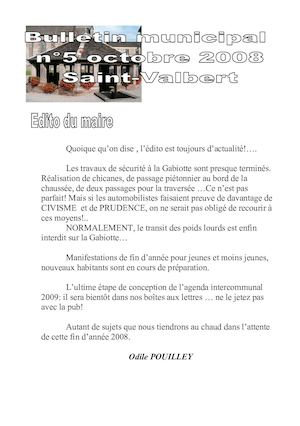 Bulletin Municipal n°05 - Octobre 2008