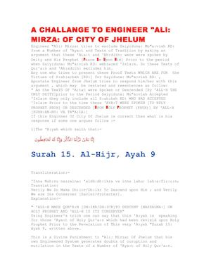 "A CHALLENGE TO ENGINEER ""ALI: MIRZA OF JHELUM ON INCONSISTENCY IN HIS SYSTEM OF ARGUMENTS"