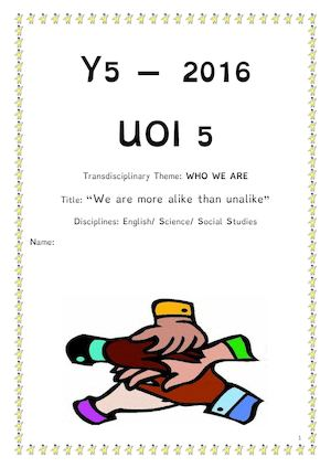 Uoi 5 Who We Are Social Studies Booklet 2016
