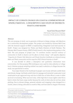 IMPACT OF CLIMATE CHANGE ON COASTAL COMMUNITIES OF SINDH, PAKISTAN - A DESCRIPTIVE CASE STUDY OF DISTRICTS THATTA AND BADIN