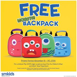Get A Free Cute Monster Backpack From The Sm Store On November 15 30 2016 87432
