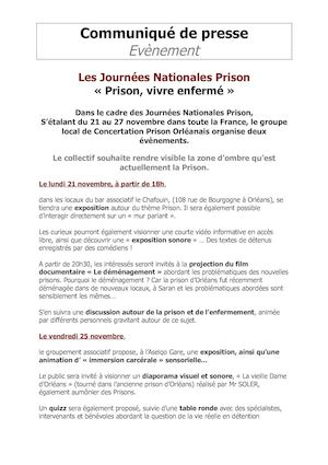 Journees Nationales Prison Orléans