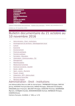 Bulletin Documentaire Cnfpt Octobre 2016