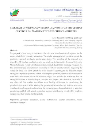 RESEARCH OF VISUAL CONTEXTUAL SUPPORT FOR THE SUBJECT OF CIRCLE ON MATHEMATICS TEACHER CANDIDATES