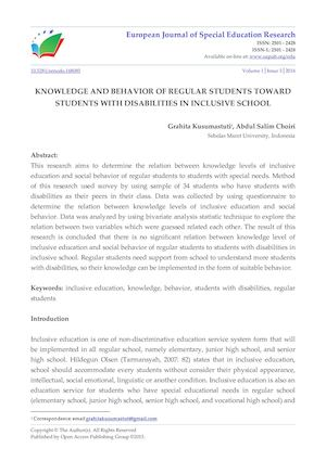 KNOWLEDGE AND BEHAVIOR OF REGULAR STUDENTS TOWARD STUDENTS WITH DISABILITIES IN INCLUSIVE SCHOOL
