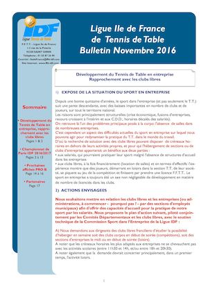 Bulletin Ligue IDF Novembre 2016