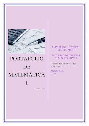 Calaméo - Portafolio Matemática I