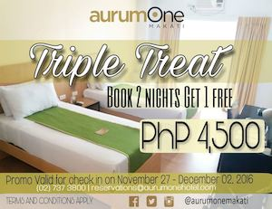 Book 2 Nights Get 1 Free For Only P4500 At Aurumone Valid Until December 2 2016 87844