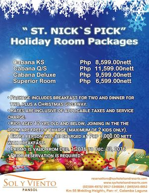 The St Nicks Pick Holiday Room Packages Are Available At Sol Y Viento Pansol From Dec 1 31 2016 87853